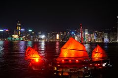 Hong Kong Skyline & Junk Royalty Free Stock Photography
