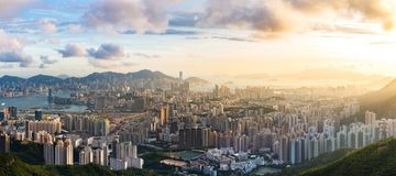 Kowloon View point sunset. Hong Kong Skyline Kowloon from Fei Ngo Shan hill or Kowloon Viewing Point sunset panorama Royalty Free Stock Photo