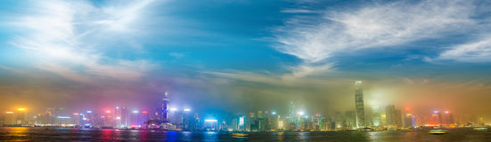 Hong Kong skyline from Kowloon. Night lights with all ads remove. D royalty free stock photo