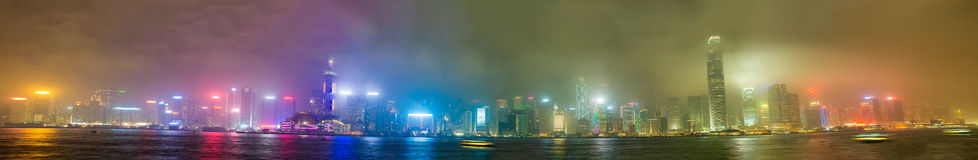 Hong Kong skyline from Kowloon. Night lights with all ads remove. D stock photo