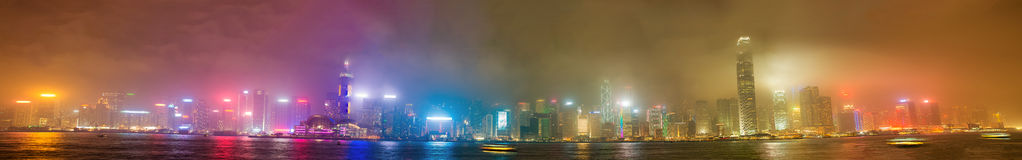 Hong Kong skyline from Kowloon. Night lights with all ads remove. D stock photography