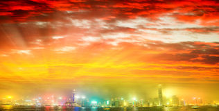Hong Kong skyline from Kowloon. Night lights with all ads remove. D stock images