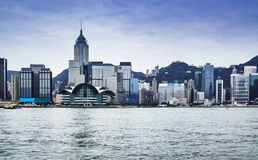Hong Kong. Skyline in the morning over Victoria Harbour Stock Image
