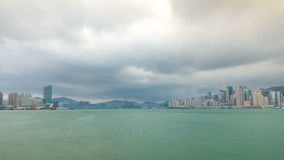 Hong Kong skyline in the morning over Victoria Harbour timelapse. stock footage