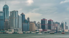 Hong Kong skyline in the morning over Victoria Harbour timelapse. stock video