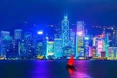 Hong Kong Skyline nigh view Royalty Free Stock Photography