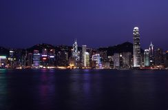 Hong Kong Skyline By Night Royalty Free Stock Photo