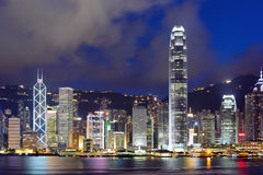 Hong Kong skyline at night Stock Images