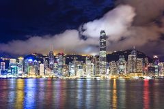 Hong Kong skyline at night. Night scenes of Hong Kong at victoria harbour stock photo