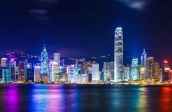 Hong Kong skyline. At night royalty free stock images
