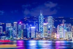 Hong Kong skyline. At night stock images
