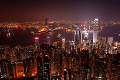 Hong Kong skyline by night Stock Photography