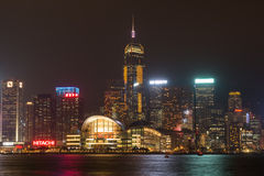 Hong Kong skyline at night from across Victoria Harbor. HONG KONG - January 25, 2016: Hong Kong skyline at night from across Victoria Harbor Royalty Free Stock Images