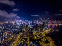 Hong Kong Skyline Night Drone 2018 stock photo