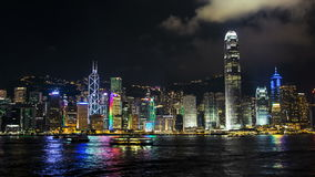 Hong Kong skyline - night timelapse. Nocturnal view of iconic Hong Kong waterfront stock video