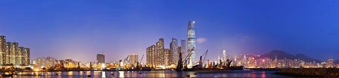 Hong Kong skyline night view at coast Stock Photo