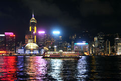 Hong Kong skyline at night, view from Kowloon side. Royalty Free Stock Photography