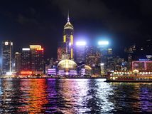 Hong Kong skyline at night, view from Kowloon side. Stock Photos