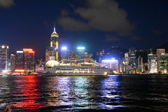 Hong Kong skyline at night, view from Kowloon side. Stock Image