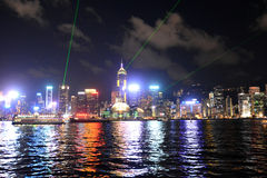 Hong Kong skyline at night, view from Kowloon side. Stock Photography