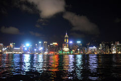 Hong Kong skyline at night, view from Kowloon side. Royalty Free Stock Photo