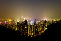 Hong Kong skyline at night. Stock Photos