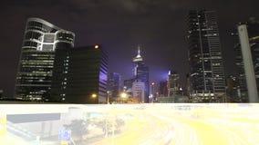 Hong Kong Skyline på natten lager videofilmer