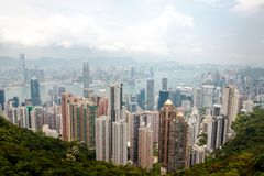 Hong Kong skyline from the Peak royalty free stock image