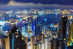 Hong Kong skyline from Peak Stock Photo