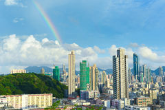 Hong Kong skyline with rainbow Stock Image