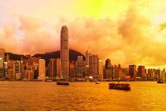 hong kong skyline słońca Fotografia Royalty Free