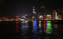 Hong Kong Skyline. With sea and light show Royalty Free Stock Images