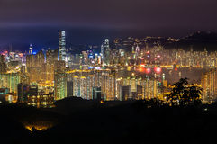 The Hong Kong skyline seen from Kam Shan, Kowloon Stock Image
