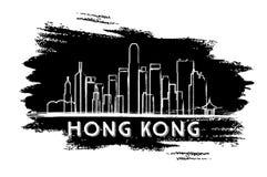 Hong Kong Skyline Silhouette Abbozzo disegnato a mano Fotografia Stock Libera da Diritti