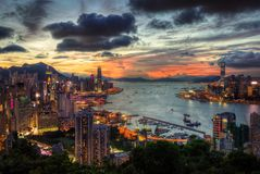 Hong Kong Skyline solnedgång royaltyfri fotografi