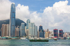 Hong Kong Skyline and Star Ferries Royalty Free Stock Image