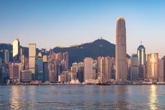 Hong kong skyline at sunrise Stock Photos