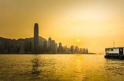 Hong Kong. Skyline of Hong Kong at sunset Stock Images