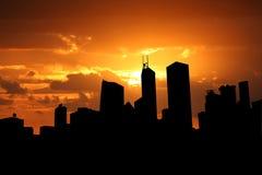 Hong Kong skyline at sunset Stock Images