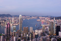 Hong Kong Skyline. At sunset Royalty Free Stock Photography