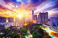 Hong Kong skyline. At sunset royalty free stock photos