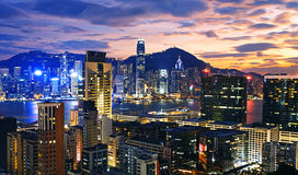 Hong Kong skyline. At sunset royalty free stock photos