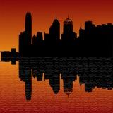 Hong Kong skyline at sunset Royalty Free Stock Images