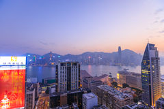 Hong Kong Skyline at sunset Royalty Free Stock Photo