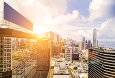 Hong Kong skyline. Sunset ,shooting in finance zone royalty free stock image