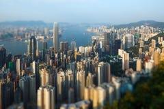 Hong Kong skyline at night. Hong Kong skyline with a tilt-shift effect Stock Image