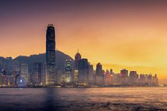 Hong Kong skyline tower and business district center of Hong Kon. G., Victoria view point Royalty Free Stock Photography