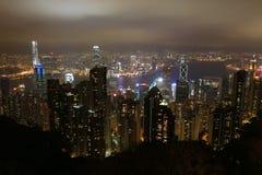 Hong Kong Skyline van over Victoria Peak Royalty-vrije Stock Foto's
