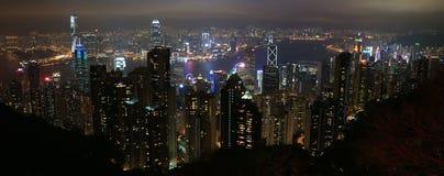 Hong Kong Skyline van over Victoria Peak Royalty-vrije Stock Afbeeldingen