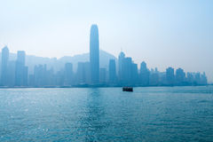 Hong Kong Skyline and Victoria Harbor on a Hazy Day Royalty Free Stock Images